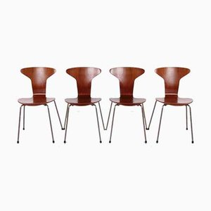 3105 Mosquito Chairs by Arne Jacobsen for Fritz Hansen, 1950s, Set of 4