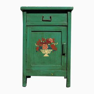 Green Hand-Painted Nightstand, 1970s
