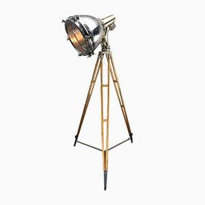 Industrielle japanische Suchscheinwerfer- oder Dreibein-Stehlampe aus Messing, Bronze & Edelstahl, 1970er