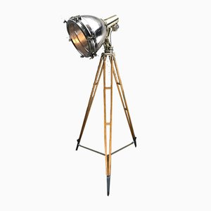 Japanese Industrial Brass, Bronze & Stainless Steel Searchlight / Tripod Floor Lamp, 1970s