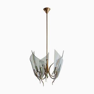 Italian Curved Glass Chandelier from Fontana Arte, 1950s