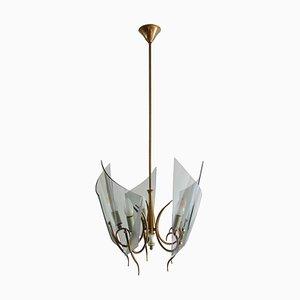 Lámpara de araña italiana de vidrio curvado de Fontana Arte, años 50