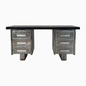 Industrieller Vintage Doppelsockel Schreibtisch aus Stahl