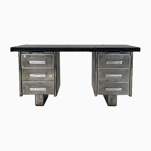 Vintage Industrial Steel Double Pedestal Desk