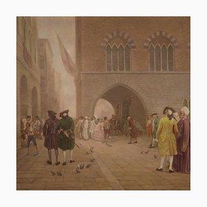 Pintura de paisaje firmada y fechada grande, siglo XVIII