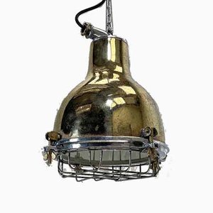 Japanese Industrial Brass, Aluminium & Glass Dome Pendant Lamp with Cage, 1980s