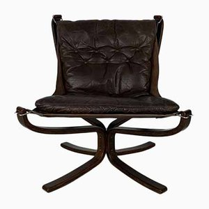 Vintage Dark Brown Low-Back Falcon Chair by Sigurd Resell for Vatne Møbler