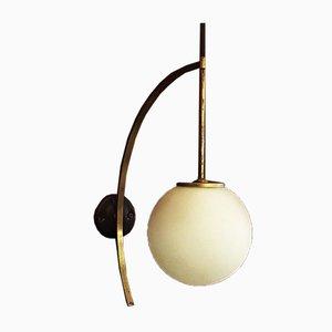 Italienische Messing Bogenlampe mit Glasschirm, 1950er