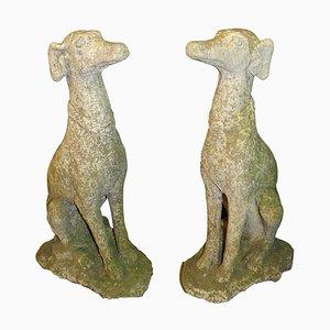 Italienische Geschnitzte Mid-Century Greyhound Sculptures, 2er Set