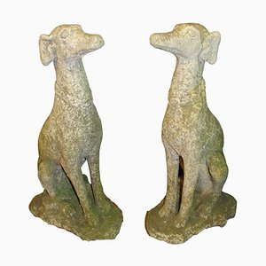 Mid-Century Italian Carved Stone Greyhound Sculptures, Set of 2