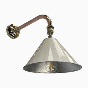Freischwingende Wandlampe aus Kupfer & Messing mit cremefarbenem Armlehnsmesser, 1980er