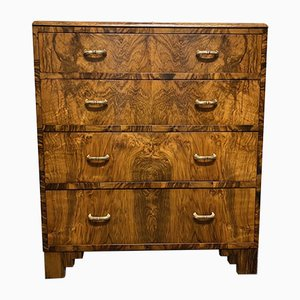 Vintage Art Deco Burr Walnut Chest of Drawers