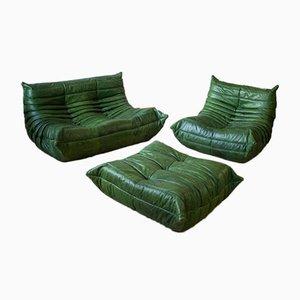 Juego de salón Togo vintage de cuero verde de Michel Ducaroy para Ligne Roset. Juego de 3