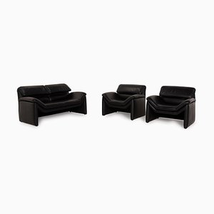 Leather Sofa Living Room Set by Hans Kaufeld for de Sede, Set of 3