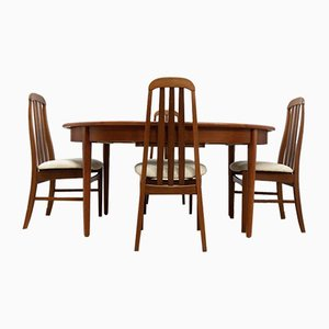 Mid-Century Vintage Teak Extending Dining Table & 4 Dining Chairs from Jentique, Set of 2