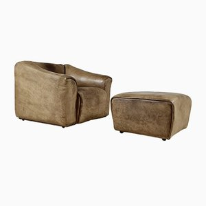 DS-47 Lounge Chair With Ottoman by De Sede, 1970s, Set of 2