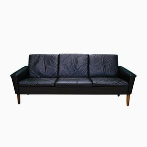 Mid-Century Danish Black Leather 3-Seater Sofa, 1960s