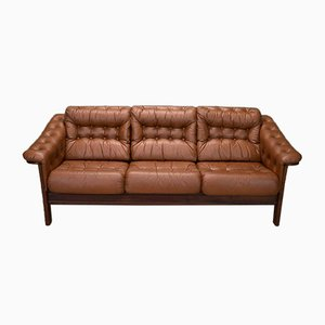 Mid-Century Swedish Buttoned Brown Leather 3-Seater Sofa, 1970s