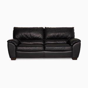 2-Seater Black Leather Sofa from Natuzzi