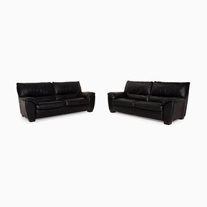 Black Leather Living Room Set from Natuzzi, Set of 2