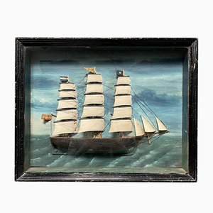 Framed Folk Ship in Black Wooden Display