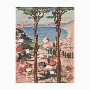 Jean-Raymond Delpech, Pines on the Sea, acuarela original, 1943
