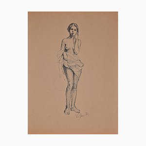 Vincenzo Groan, Standing Nude Girl, dibujo original en tinta, década de 1890