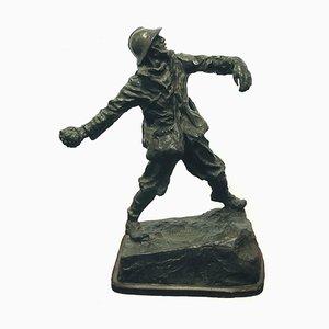 Michelangelo Monti, Ardito, Original Escultura de bronce, 1908