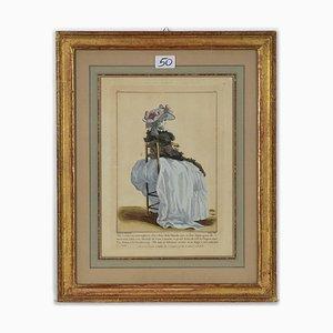 Grabado original de Jean Antoine Watteau, Young Girl, después de Jean Antoine Watteau, 1778