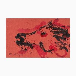 Michele De Luca, caballos, tinta original y acuarela, 1983