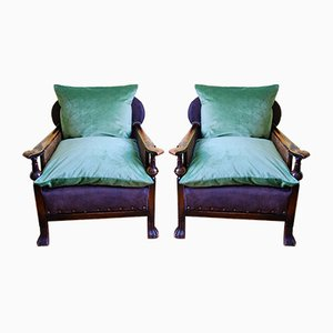 Edwardian Wood and Cane Armchairs & Ottoman, Set of 3