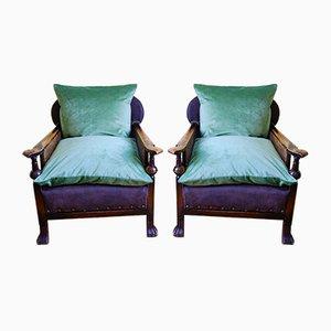 Edwardianische Armlehnstühle & Fußhocker aus Holz & Schilfrohr, 3er Set