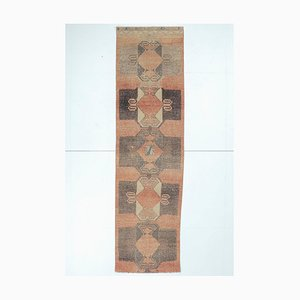 Alfombra Oushak turca vintage de lana geométrica hecha a mano 3x11 en rojo