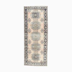Handgeknüpfter türkischer Vintage Oushak Wollteppich mit 5x12 Feldern in Oriental Lachs-Orange