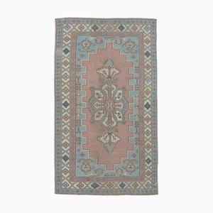 Türkischer Vintage Oushak 4x8 Handgemachter Teppich mit Rautenmuster in Rot