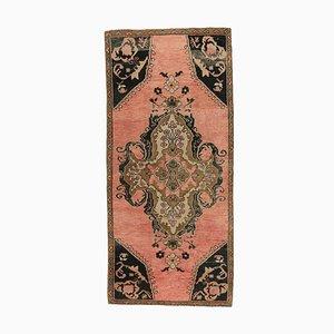 3x7 Vintage Turkish Oushak Handmade Wool Carpet in Red