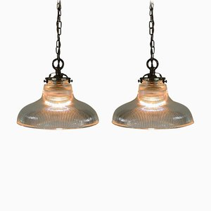 Mid-Century Industrial French Holophane Glass Pendant Lamps, 1950s, Set of 2