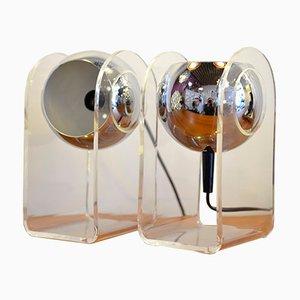 Lampade da tavolo sferiche cromate, anni '70, set di 2