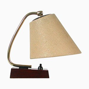 Mid-Century Scandinavian Modern Rosewood Brass and Raffia Table Lamp