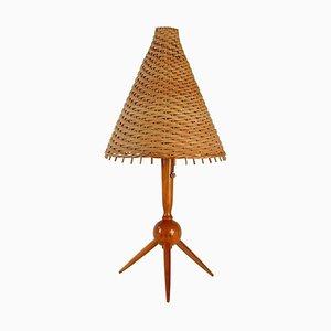 Mid-Century Swedish Teak and Rattan Table Lamp, 1950s