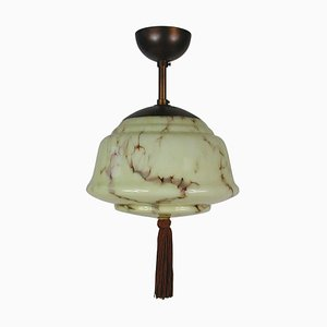 German Bauhaus Art Deco Flush Mount Pendant in Patinated Brass and Opaline, 1920s