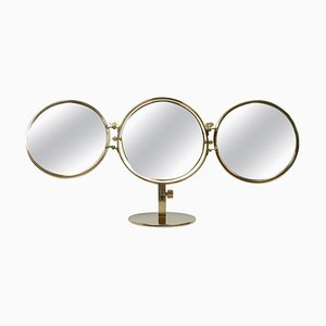 Mid-Century Italian Brass Triple Folding Vanity Table Mirror by Orma, 1950s