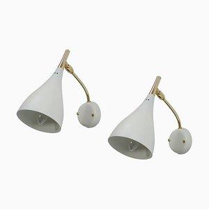 Weiße Verstellbare Mid-Century Wand- oder Wandlampen von Cosack, 1950er, 2er Set