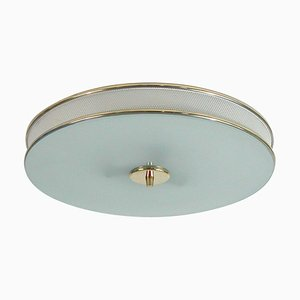 Mid-Century French Cream White and Brass Flush Mount in the Style of Matégot, 1950s