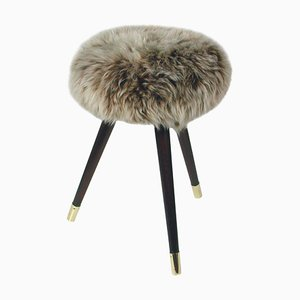 Mid-Century Tripod Real Iceland Sheep Lamb Upholstered Stool, 1950s