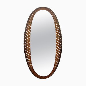 Large Mid-Century French Oval Rattan and Wood Wall Mirror, 1950s