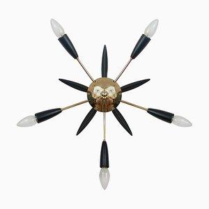 Schwarze Mid-Century & Sputnik Wandlampe aus Messing, 1950er