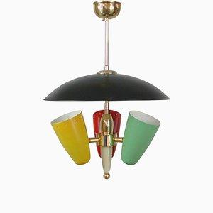 Lámpara de araña italiana Mid-Century multicolor, años 50