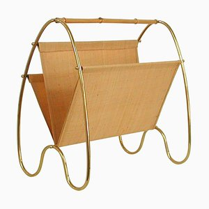 Mid-Century Modern Brass and Bamboo Magazine Rack, Austria 1950s