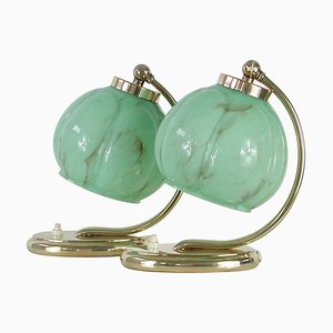 German Bauhaus Brass Table Lamps with Marbled Opal Shades, 1930s, Set of 2